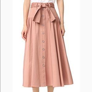 Rebecca Taylor Cotton Satin Belted midi skirt